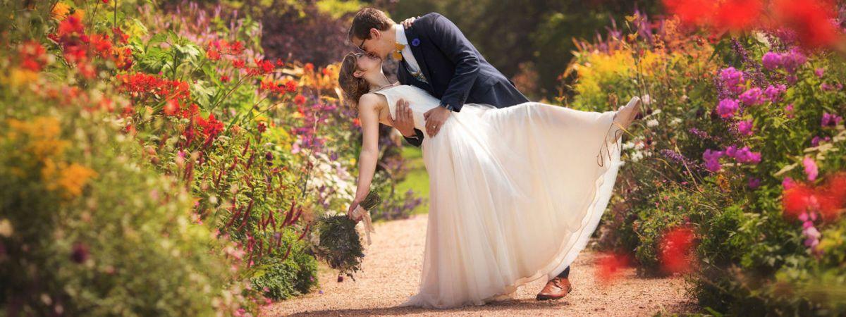 blush tulle bespoke wedding dress Felicity westmacott with bright flowers