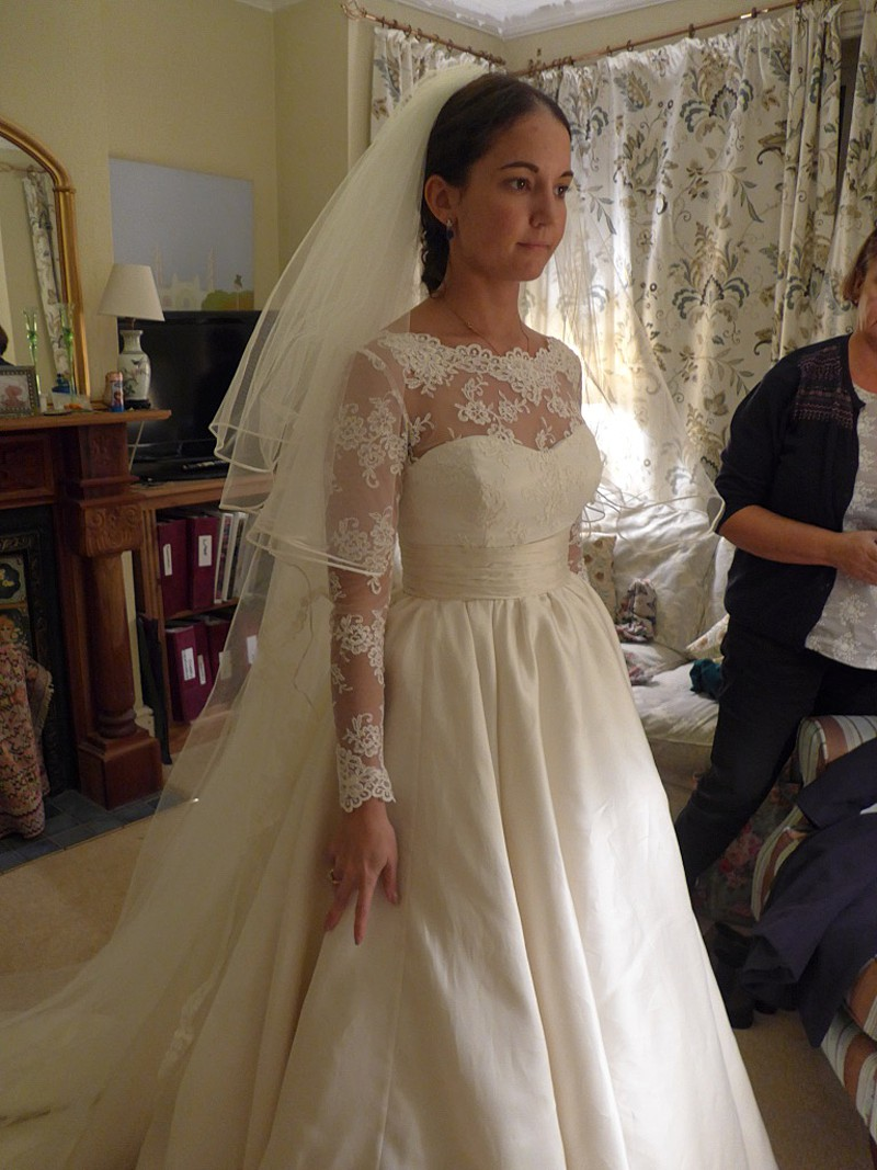 final fitting picture of bespoke wedding dress and veil