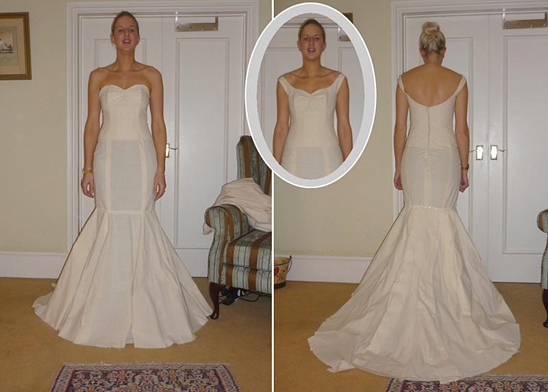 bespoke dressmaker toile strapless and off the shoulder neckline