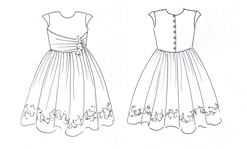 Mini-me christening dress by Felicity Westmacott, made from mummy's wedding dress in ivory taffeta and beaded applique: design sketch