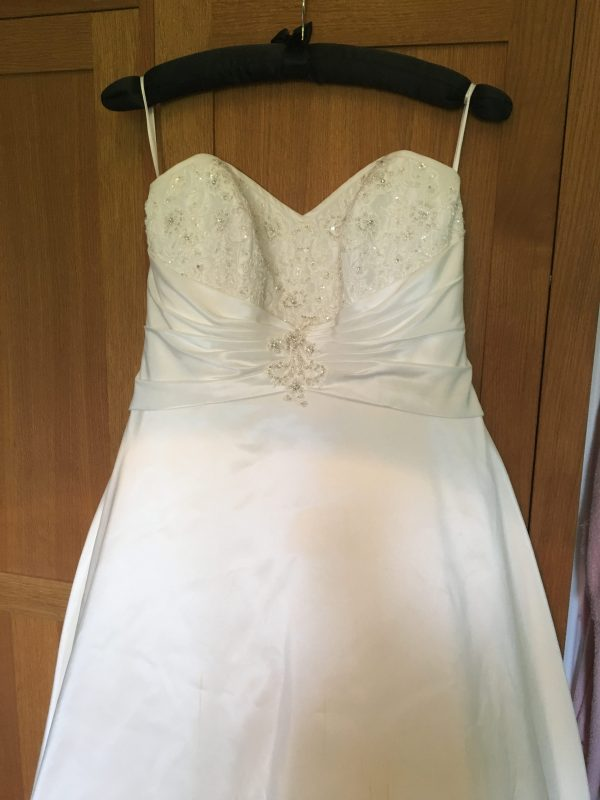 Mini-me christening dress by Felicity Westmacott, made from mummy's wedding dress in ivory taffeta and beaded applique: the dress before we cut it up