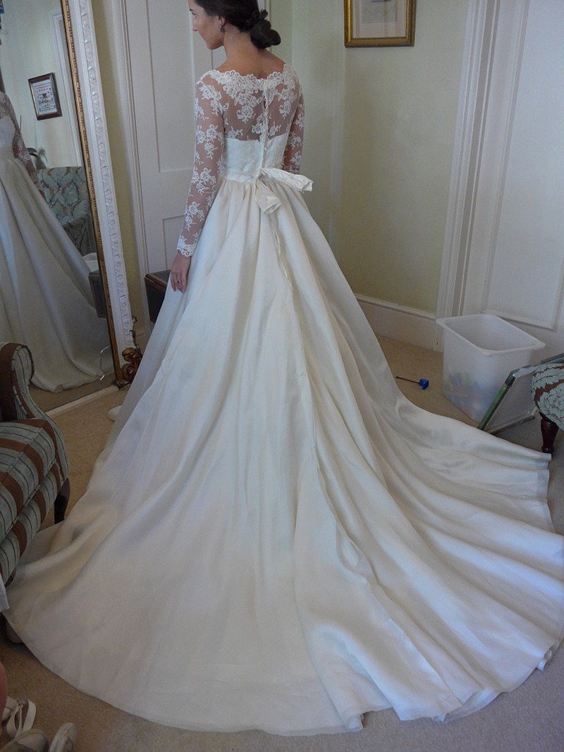 Fitting picture hand made wedding dress