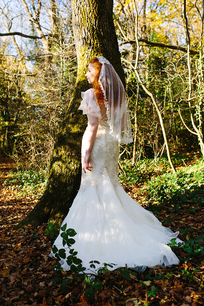 metallic lace flutter sleeve train wedding dress