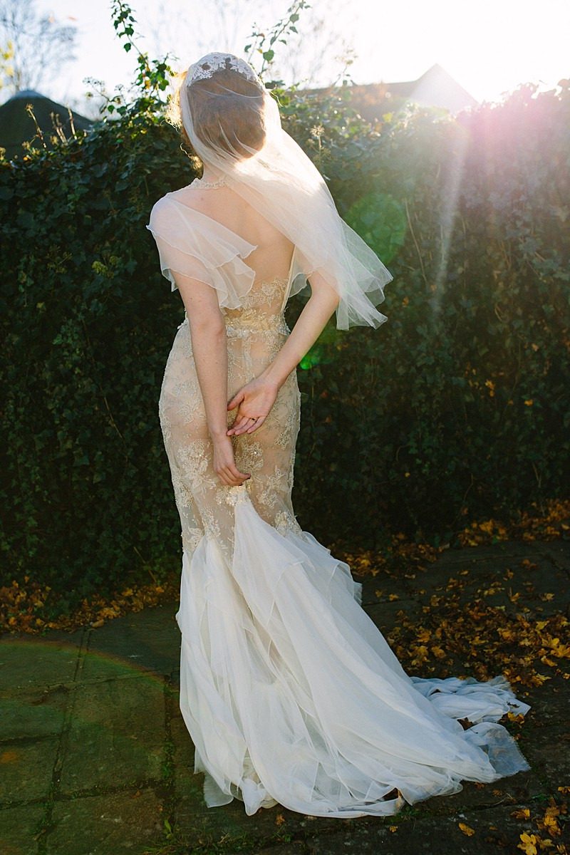 illusion mesh lace wedding gown made to measure photoshoot