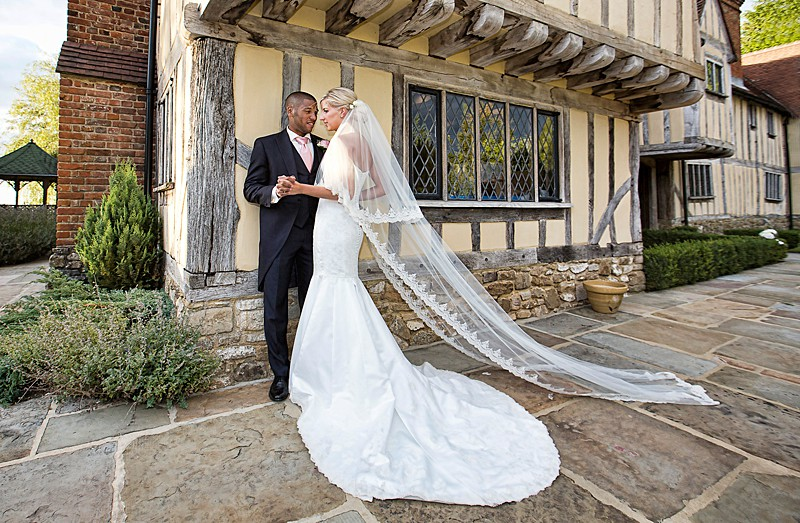 grand wedding dress and cathedral veil royal wedding inspired train