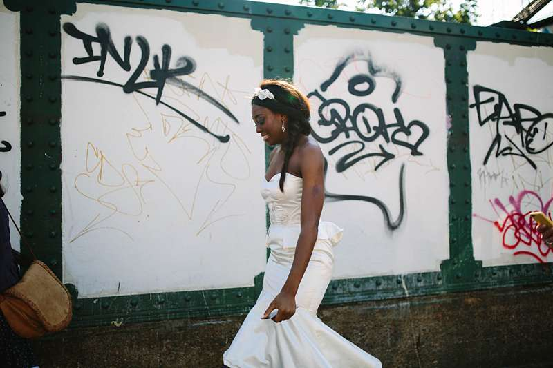 city wedding ivory silk dress graffiti bridge