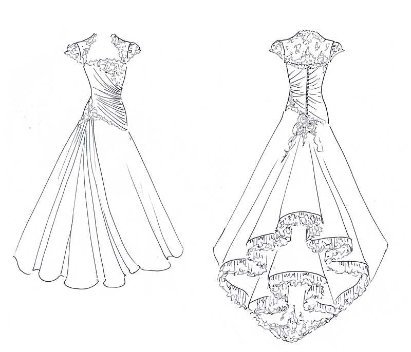 original design sketch for taffeta ruched wedding dress by Felicity Westmacott